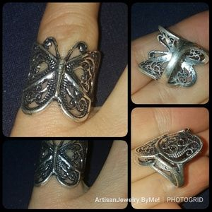 Filligree Butterfly Cutwork Tibetan Silver Ring